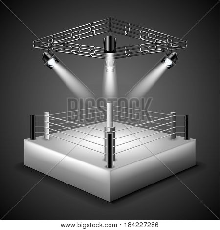 Boxing ring background photo realistic vector illustration