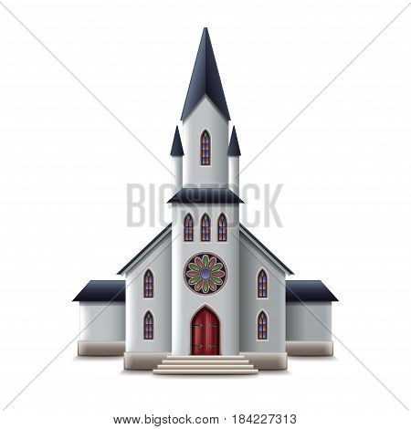 Catholic church isolated on white photo-realistic vector illustration