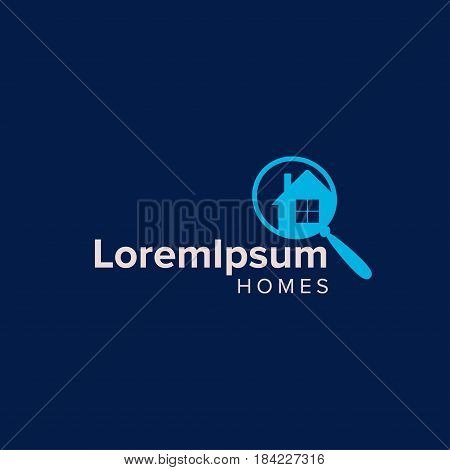 House Searching Logo Design Template. simple realty with magnifier home locationsearching and modern real estate.