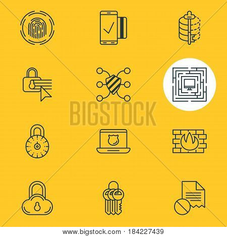 Vector Illustration Of 12 Privacy Icons. Editable Pack Of Safe Storage, Data Security, Finger Identifier And Other Elements.