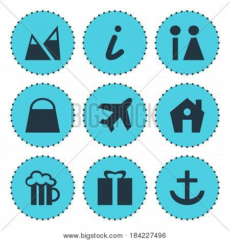 Vector Illustration Of 9 Check-In Icons. Editable Pack Of Home, Beer Mug, Toilet And Other Elements.