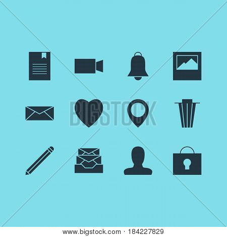 Vector Illustration Of 12 Online Icons. Editable Pack Of Bookmark, Messages, Map Pointer And Other Elements.