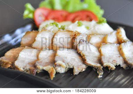 grilled pork with noodle banh hoi (Vietnamese food)