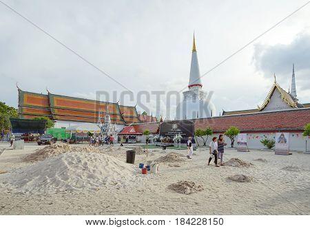 NAKHON SI THAMMARAT THAILAND - April 12 2017: Wat Phra Mahathat Woramahawihan is the main Buddhist temple (wat) of the Nakhon Si Thammarat Province in Southern Thailand.