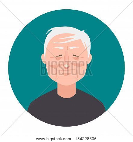 Old man avatar icon in flat style. Male user icon. Cartoon man avatar. Vector stock.