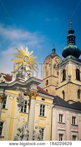Religious statue in Krems an der Donau, Austria.