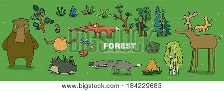 Cartoon forest animal characters collection. Hand drown flat vector illustration. Bird, hedgehog, wolf, fox, beaver, bear, moose with birch trees and plants