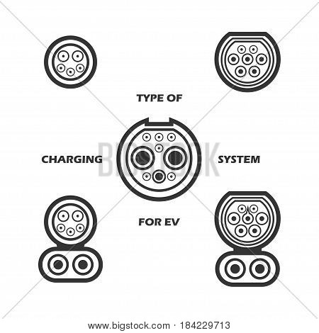 Set of type of charging system for electric vehicle. Different type of plugs for electric car. Vector illustration.