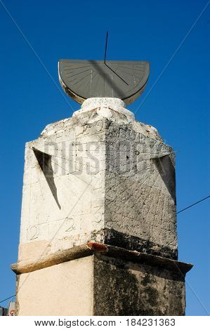 Santo Domingo, Dominican Republic - 3 february 2002: Different way to tell the time Sundial built in 1753 in Santo Domingo Dominican Republic and still standing