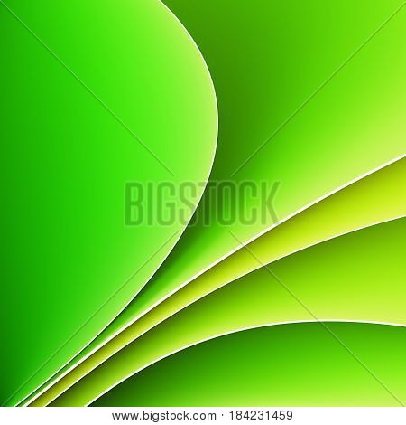 Abstract background with white lines and smooth green waves