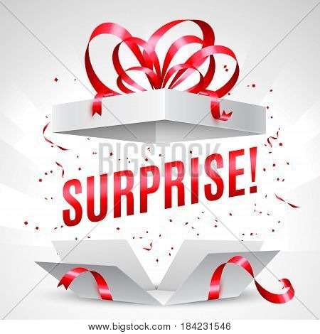 Opened surprise gift box with red bow and confetti