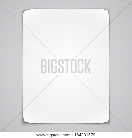 Blank white paper list with curled corners. Poster mock-up template