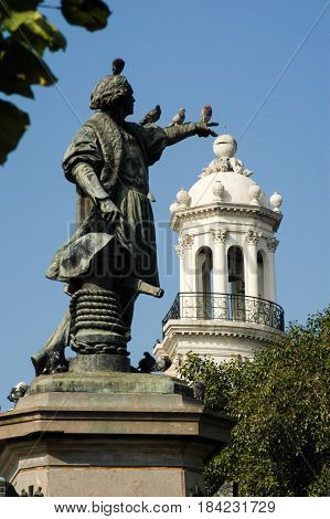 Santo Domingo, Dominican Republic - 3 february 2002: Columbus Statue at Parque Colon in Santo Domingo on Dominican Republic