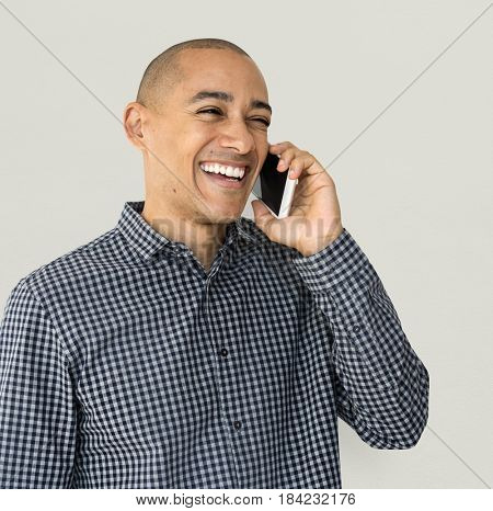 A guy is using smartphone talking