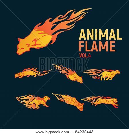 animal flame mascot set logo. Vector Illustration.