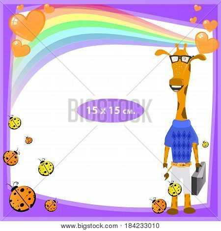 Photo frame for a child. Illustrations for your design. Format for standard photo printing. Format standard photo. square. Giraffe with a briefcase
