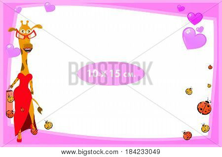 Photo frame for a child. Illustrations for your design. Format for standard photo printing. Standard photo format. Horizontal orientation. Giraffe girl and hearts