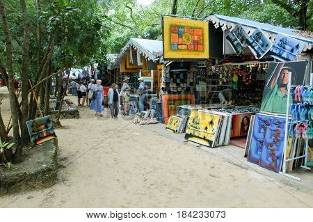 Stalls With Colorful Souvenirs At Sosua, Dominican Republic