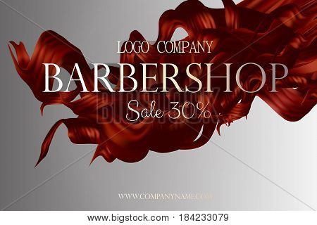 Barbershop poster promo with hair vector 3d illustration. Discount card at the hairdresser.