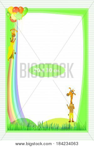 Photo frame for a child. Illustrations for your design. Format for standard photo printing. Format A4. Vertical orientation. Giraffe and giraffe girl flying into the sky.