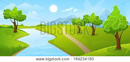 Cartoon illustration of the rural summer landscape with river