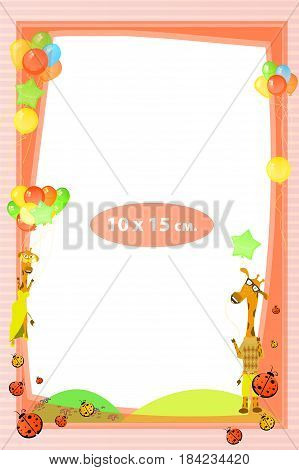 Photo frame for a child. Illustrations for your design. Format for standard photo printing. Standard photo format. Vertical orientation. Giraffe in a suit