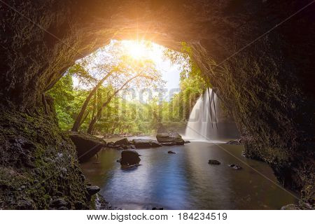 Amazing beautiful waterfalls in tropical forest at Haew Suwat Waterfall in Khao Yai National Park Thailand