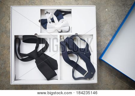 Luxury silk white bow-tie and tie in box accessory for men dress