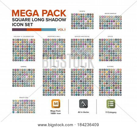 Mega Pack square Icon set bundle long shadow . Icon set collection