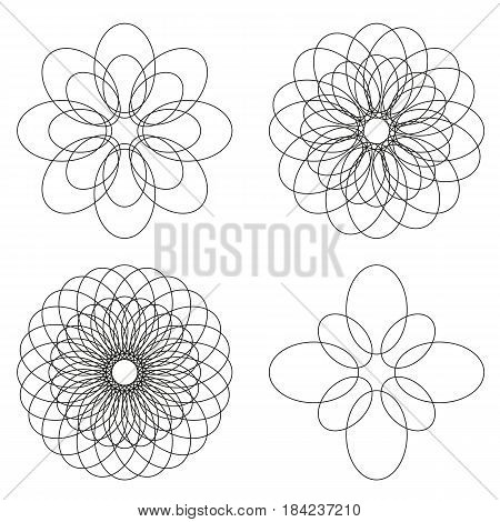 Set of 4 isolated spirograph flower ornaments black line elements