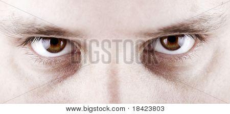 Closeup shot of the man's eyes