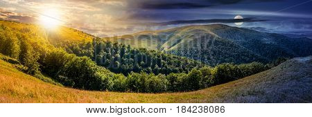 day and night change concept. composite image of panoramic summer landscape. hillside meadow near the forest in Carpathian mountains