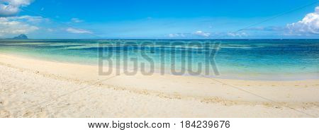 Sandy tropical Wolmar beach at sunny day. Panorama. Mauritius
