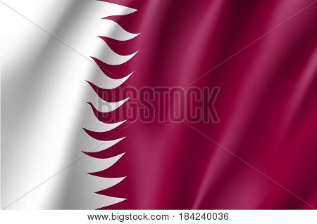 Qatar national flag, fluttering in the wind, educational and political concept, realistic vector illustration
