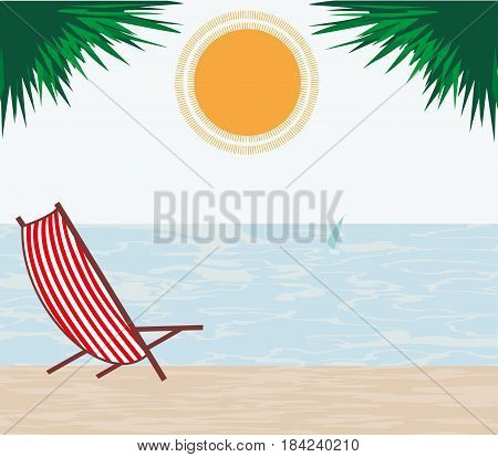 Summer background with sea palm leaves sun and deck chair in red and white stripes. Drawn vector illustration