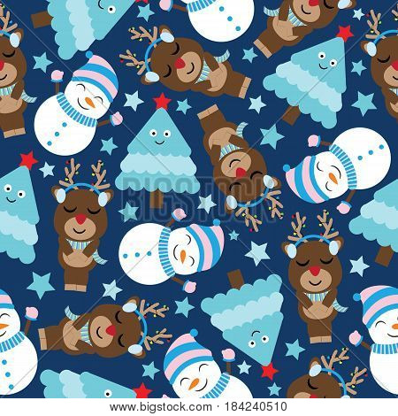 Cute deer, snowman and tree on dark blue background vector cartoon, Xmas Seamless pattern, postcard, and wallpaper, T-shirt design for kids