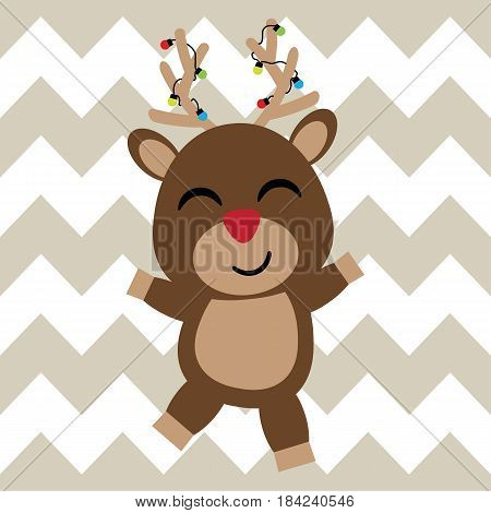 Cute deer is happy on chevron background vector cartoon, Xmas postcard, wallpaper, and greeting card, T-shirt design for kids