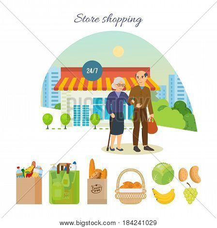 Store shopping concept. Adult couple after shopping at mall, got out of the store and go on a city street with shopping bags in their hands. Modern vector illustration isolated on white background.