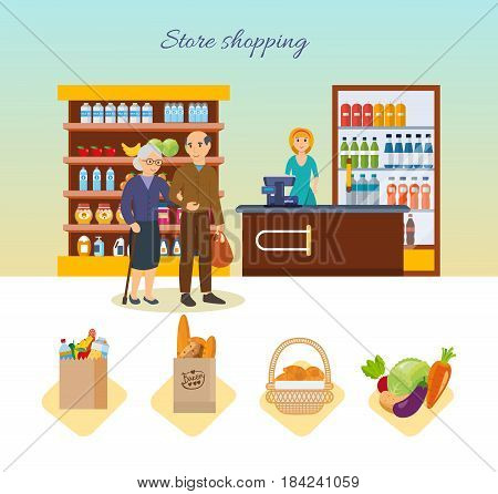 Store shopping concept. Shop, supermarket interior, healthy eating. Family walking around the store and takes fresh food. Modern vector illustration isolated on white background.