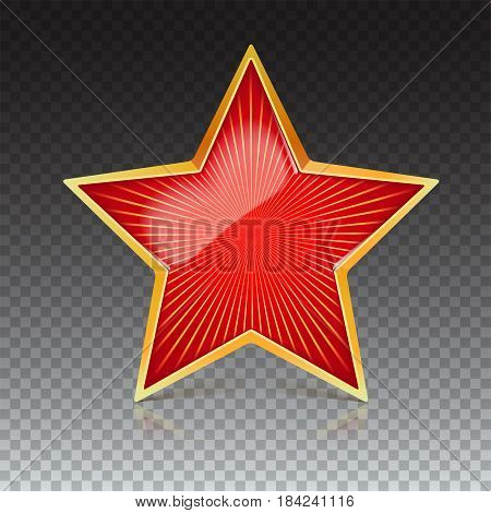 Red star with gold metal rim and radiating from the center rays. Realistic symbol of the USSR with reflexes and reflections. Soviet red star, isolated on trasparent background. Symbol of the holidays