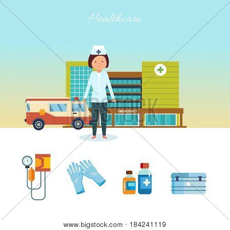 Modern healthcare concept. Medical worker healthcare in work clothes, against the backdrop of the medical center, hospital building and city streets. Vector illustration isolated on white background.