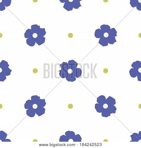 Ditsy background. Floral seamless pattern with cute flowers and polka dot. Vector illustration. Repeating ornament for print on fabric, textile, paper, gift wrap,wallpaper. Rustic simple style.