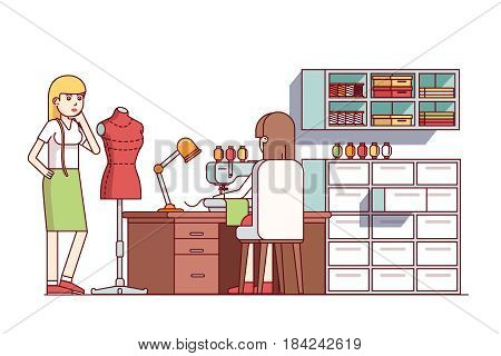 Fashion clothes designers making new dress style. Tailor shop seamstress woman working on sewing machine, sitting at desk. Flat style cartoon vector illustration isolated on white background.