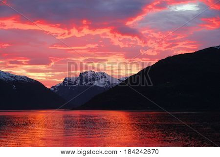 Sunset In Fjord Of Norway