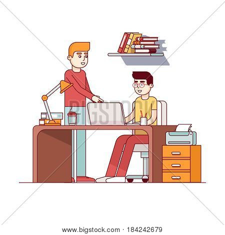 Two young man working on university homework project together in dorm room or office. Teen boy student sitting at desk with laptop computer. Flat style vector illustration isolated on white background