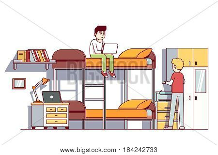 University students living in dorm room. Doing homework or project together. Boy sitting on bunk bad with laptop. Printing document. Flat style cartoon vector illustration isolated on white background
