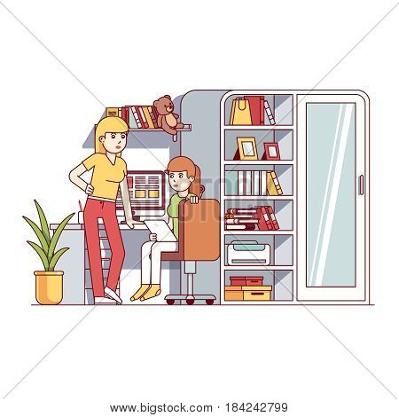 University student girls living together in one dorm. Doing college school homework or project. Sisters sharing room. Home office. Flat style cartoon vector illustration isolated on white background.