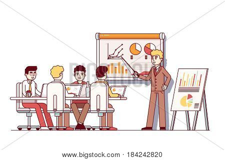 Business school students sitting at conference room desk with laptops and listening to management teacher. University lecture, seminar or presentation. Flat style vector isolated illustration.