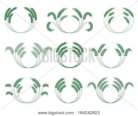 Set of wheaten wreaths on a white background. Vector illustration.