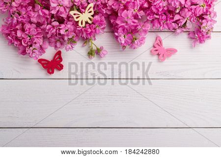 Pink Flowers On Wooden Background